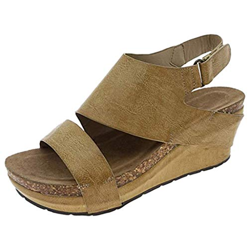 - LYNStar✔Womens Wedge Casual Heels & Pumps Shoes Summer Comfortable Sandals for Walking Sandals Straw Sandals Wedges