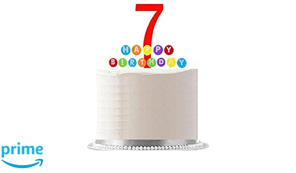 Multi Coloured Number  7 Candle 7th Birthday Cake  Rainbow Boy Girl