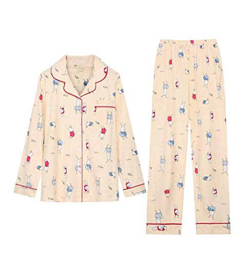 Manga cuello Solo Larga Para Un Casual Ropa Pijama Dormir Mujeres Pantalones Beige Clásico Pecho Primavera El De V Otoño Patrón Conjunto Cartoon Mujer Hogar 4qf7awx4S