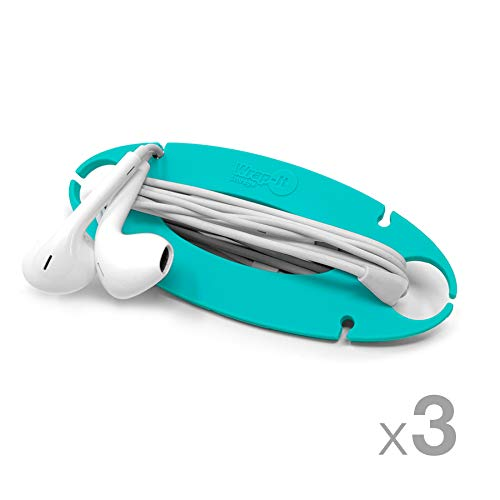 Wrap-It Storage Tangle-Free Cord Wrap - Aqua (3 Pack) - Earbud Holder, Headphone Cord Wrap, Ear Buds Wrap, Cord Manager, Ear Phone Holder, Headset Cable Winder, Earbuds Organizer