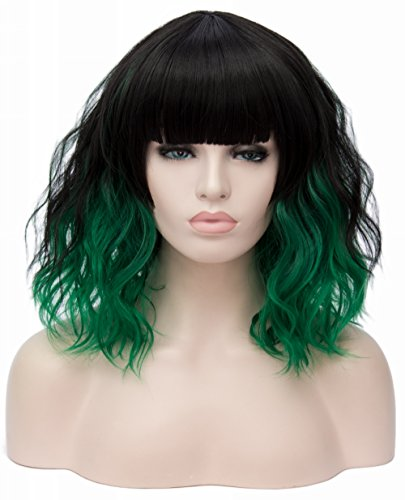 TopWigy Women Dark Green Wig Medium Length Curly Body Wave Bob Wig Synthetic Heat Resistant Hair Cosplay Costume Party Fun Wig 14 Inches