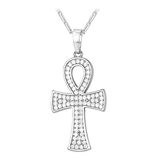U7 Men Women Customizable Egyptian Ankh Key Necklace Coptic Cross Altar Jewelry Men Women Pendant, 22