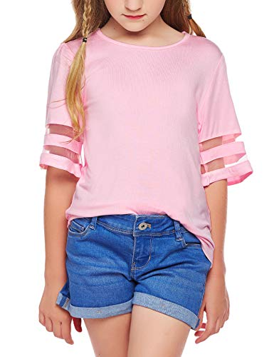Arshiner Girls Casual Tunic Tops Shirts Kids Short Sleeve Blouse T-Shirt Size 4-13 Years 1