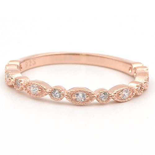 Gold Ring Round Pave (Lemon Grass Sterling Silver Delicate Marquise and Round CZ Half Eternity Wedding Band Stacking Ring Plated with 14K Rose Gold Size 8)