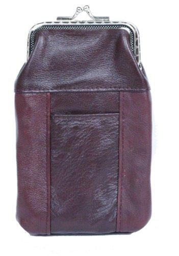 Womens Leather Cigarette Case   Lighter Holder Wine