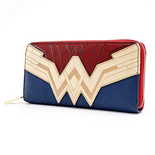 Loungefly Wonder Woman Saffiano Faux Leather Wallet Standard ,Blue  (Wonder Woman Wallet)