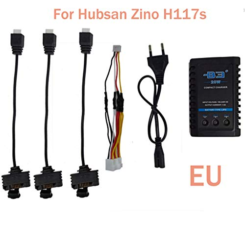 Lemoning Charging Three Cable Adapter for Hubsan Zino H117S Quadcopter Battery B3 Charger