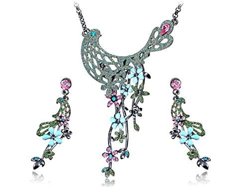 Alilang Green Tone Woodland Nymph Elegant Floral Swarovski Element Earring Necklace Set ()