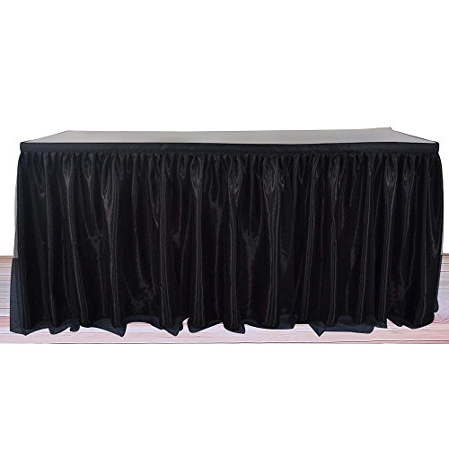 (Aibelly Tutu Tulle Table Skirt Handmade Fluffy Tableware Tablecloth for Christmas Wedding Baby Shower Wedding Birthday Party Home Decoration Table Skirting (L 6(ft) H 30in Black))