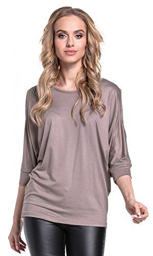 Glamour Empire. Para mujer camiseta. Mangas murciélago. Con tachuelas. 035 Cappuccino