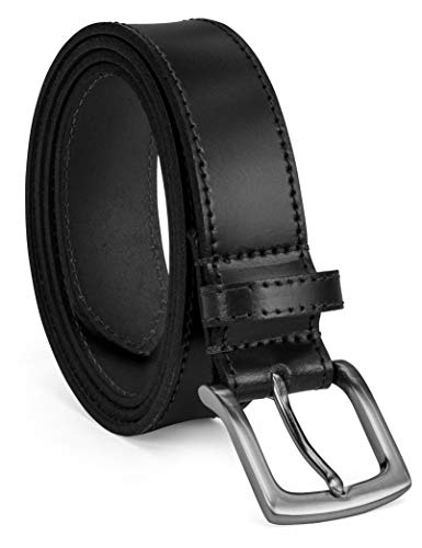(Colonial Belt Company Men's Made in The USA Casual Leather Jean Belt, Black/Self Stitch, 42)