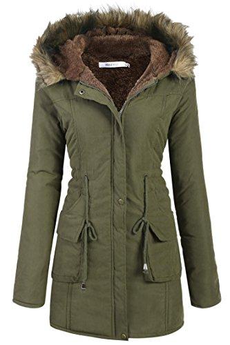 del con Algodón Invierno Chaqueta Anoraks Abrigos Verde para Meaneor de Capucha Mujer q0aRRw