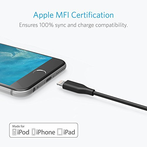 [2-Pack] Anker PowerLine 4 Inches Lightning Cable, Apple MFi Certified Lightning to USB Charging Cable for iPhone X / 8 / 8 Plus / 7 / 7 Plus / 6 / 6s Plus, iPad mini / Air / Pro iPod touch (Black)