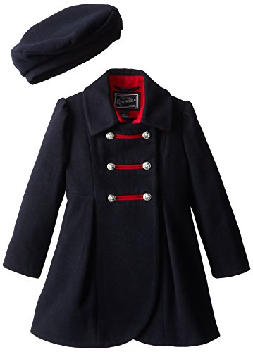 Rothschild Little Girls' Faux Wool Petal Front Military Coat, Navy, 5 by Rothschild