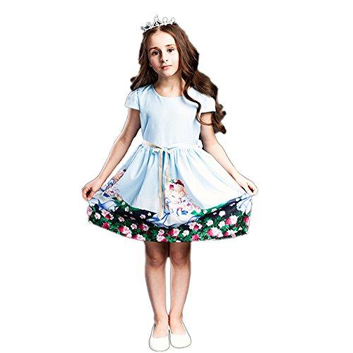 BRWCF 2017 Girls Summer Dresses Snow White prints Princess Dress 2-8 Years (3T)