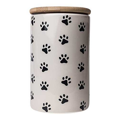 "Park Life Designs ""Pawz Treat Jar, Stylish Heavyweight Ceramic Container for Treats and More, Bamboo Lid with Airtight Silicone Seal, Dishwasher Safe 6-1/2"" Tall Canister, Grey"