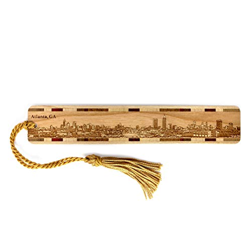 - Atlanta Georgia Skyline Engraved Wooden Bookmark with Tassel