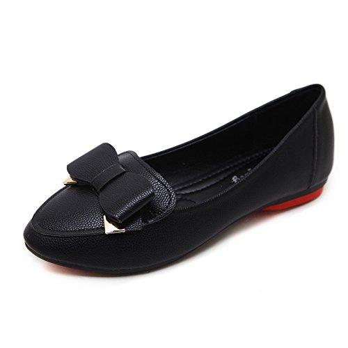 Schuhe Flats Schwarz Zehen Oberteil AdeeSu Urethan Runde Cut Womens Low Bows WnvvZqzP