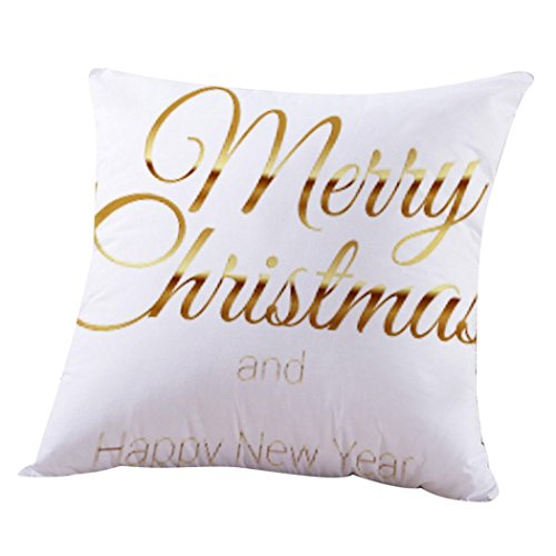(Merry Christmas Pillow Case, Keepfit Santa Claus, Sleigh Bells, Snowmen and Reindeer Pillow Sofa Cushion Cover Home Gifts)