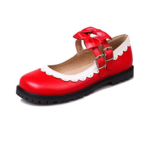 VogueZone009 Women's Assorted Color PU Low-Heels Round-Toe Buckle Pumps-Shoes Red b2He4