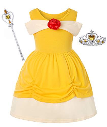 Dormstop Girls Little Mermaid Dress Halloween Ariel Princess Costume Fancy Party Cosplay Costumes 1-2 Years Yellow]()