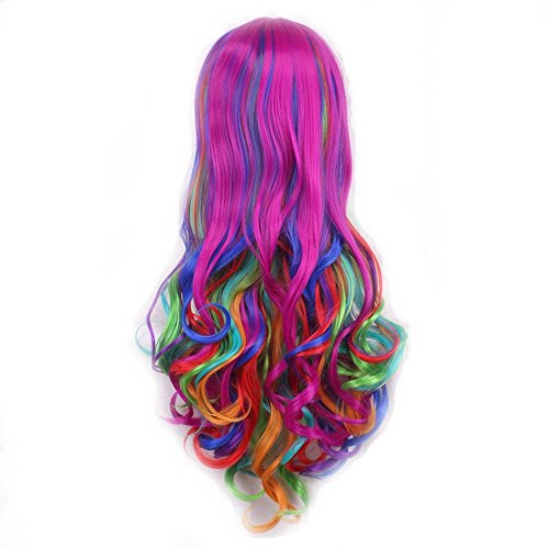 EBTOYS Women's Hair Wig Long Big Wavy Hair Heat Rainbow Wig For Cosplay Halloween Party Costume by EBTOYS