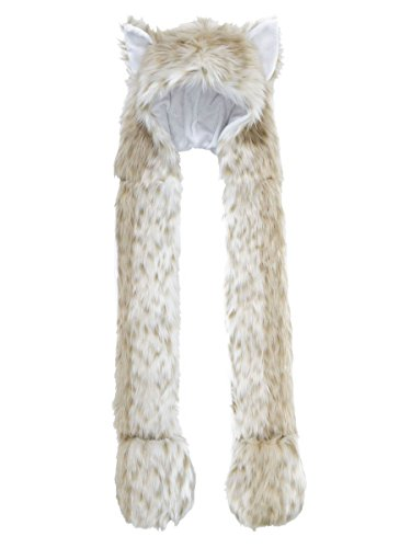 Full Animal Hood Hoodie Hat Cap with Paw Mittens Gloves Faux Fur 3 in 1,Leopard - Leopard Hood