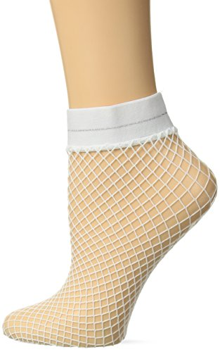 White Nylon Fishnet - HUE Women's Fashion Sheer Fishnet Ankle Socks, White/Metallic Stripe, One Size