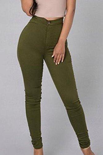 Pantalones Pantalones Alta La Skinny Pencil Mujeres Cintura Stretchy Casuales Green qPw41tSx
