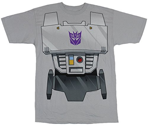 Womens Transformers Megatron Costumes (Transformers Mens T-Shirt - Megatron Simple Costume Front Image (Large) Light Gray)