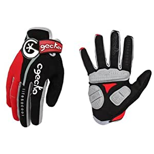 Cgecko Winter Men's Thermal Reflex Gel Bike Full Finger Glove Cycling Skiing Shock Pads Glove Size M L Xl XXL (Red, M)
