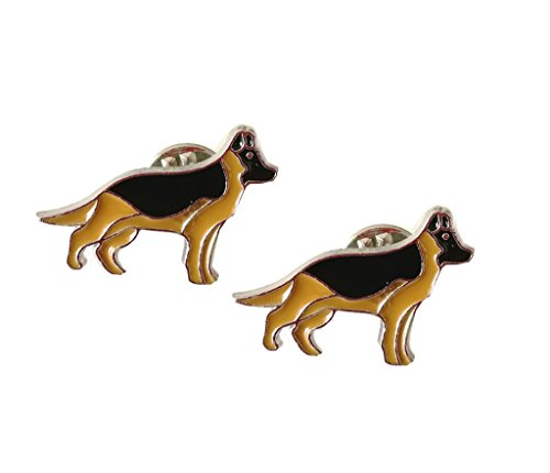 Lovely Pug Dog Brooch Pet Brooch Corsage Metal Pin Badge Dog ID Tags Christmas Birthday Gift 2PCS (German Shepherd Dog)