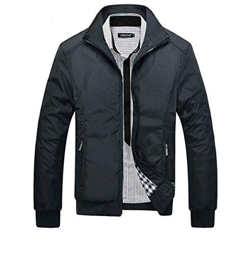 Giacche Di Moda Uomo Cappotti Casual Slim Jacket Collare Giaccone Sottile Cappotto Copricapo Arrivo Primavera , Black Xl