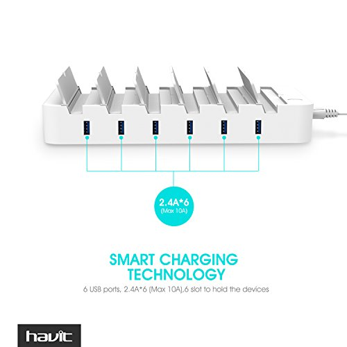 HAVIT 6-Port 60W USB Desktop Universal Charging Station Multi Device Dock for iPhone, iPad, Samsung Galaxy, LG, Tablet PC and all Smartphones and Tablets (White)