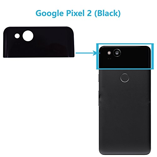 Alovexiong Black Upper Back Rear Top Panel Housing Cover Glass Cover with Adhesive Replacement Parts for HTC Google Pixel 2 5.0 Inch (Not Include Camera Glass ()