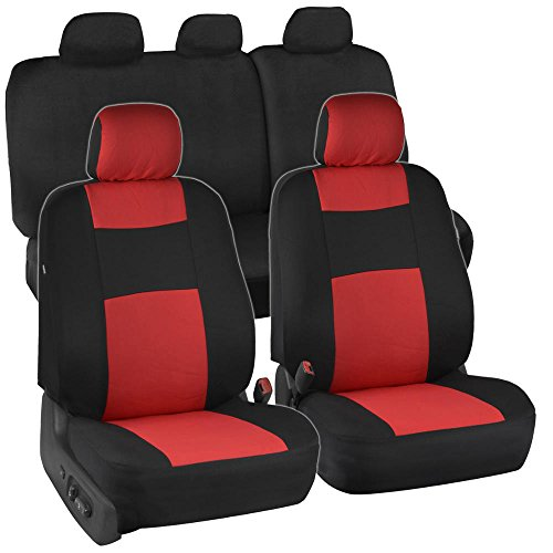 Black & Red Polyester Cloth Car Seat Covers – Option Bench (60/40 Bench)