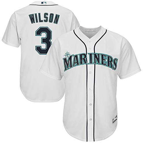 Outerstuff MLB X NFL Official Crossover Youth 8-20 Cool Base White Home Player Replica Jersey (X-Large 18/20, Russell Wilson Seattle Mariners)