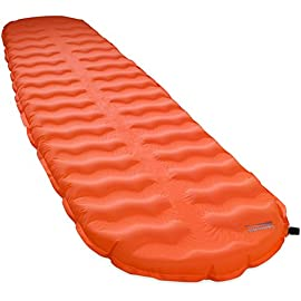 Thermarest EvoLite Self Inflating Mattress 31 Patent-pending AirFrame™ construction with alternating foam and air channels to reduce weight and pack size while amplifying loft. Unmatched two inches (5 cm) of loft deliver bump-swallowing comfort. Exclusive Atmos™ Foam beams add stability, support and excellent self-inflation performance, with only a few breaths needed to top off the mattress for optimal firmness.
