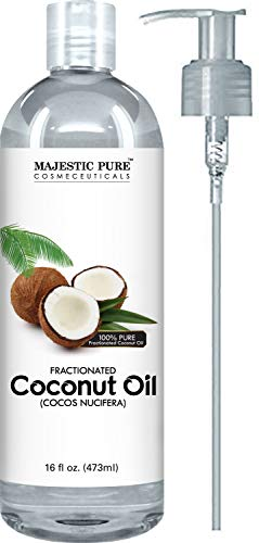 Majestic Pure Fractionated Coconut Oil, For Aromatherapy Relaxing Massage, Carrier Oil for Diluting Essential Oils, Hair & Skin Care Benefits, Moisturizer & Softener - 16 Ounces (Pure Coconut Oil For Hair And Skin)