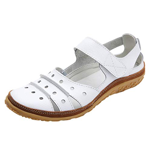 ✔ Hypothesis_X ☎ Women's Leather Flats Sandals Casual Summer Shoes Wild Loafers Outdoor Sandals Hollow Hole Shoes White - Ladies Ultra Lite Comfort Clog
