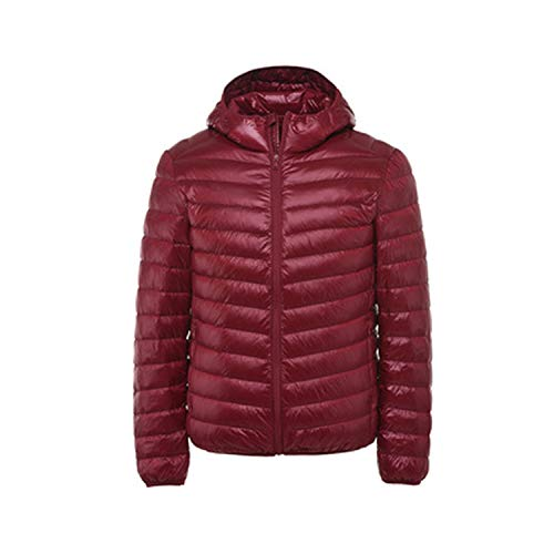Winter Duck Down Jacket Mens Hooded Light Feather Coat Warm Mens,Wine red Hood,XL (Discovery Rain Jacket Womens)