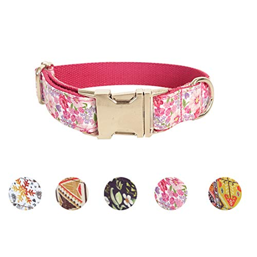 Sawors Pet 5 Patterns Made Well Pink Floral Print Dog Collar