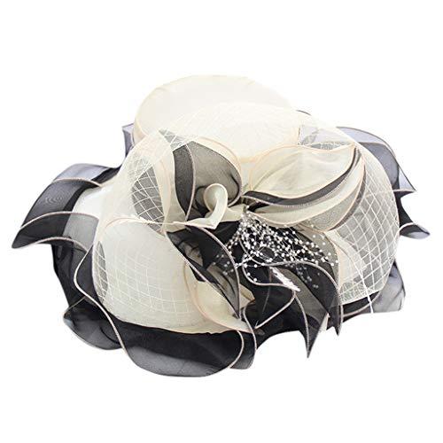 Kentucky Derby Hat Wide Brim Flounce Cocktail Tea Party Bridal Dress Church Hat Beige