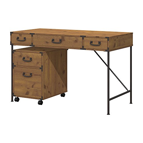 kathy ireland Home by Bush Furniture Ironworks 48W Writing Desk and 2 Drawer Mobile File Cabinet in Vintage Golden Pine