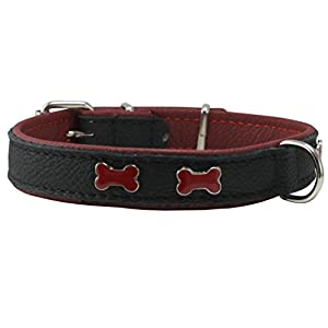"Genuine Black Leather Metal Bone Studs Soft Black Leather Padded Dog Collar 5/8"" Wide. Fits 10""-12"" Neck."