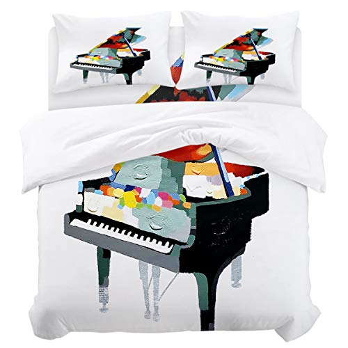 DaringOne Music Decor (4 Pcs, King) King Size Piano Modern Art Bedding Set 4 Piece Lightweight Bed Comforter Covers Includes 2 Pillow Shams ()