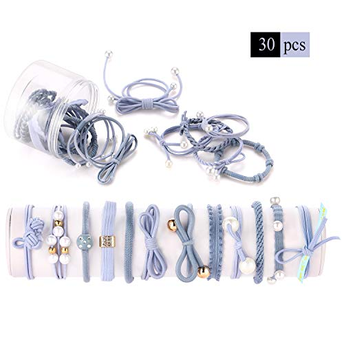 Bracelet Assorted Fancy - 30 Pcs High Elastic Hair Ties Set for Medium and Thick Hair, Funtopia Boutique Rubber Bands Stretchy Hair Bands Ropes Rings Ponytail Holders Hair Accessories for Women Girls Kids DIY Hairstyle - Blue