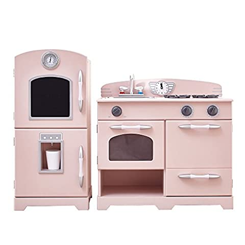 Teamson Kids - Retro Wooden Play Kitchen with Refrigerator, Freezer, Oven and Dishwasher - Pink (2 Pieces)