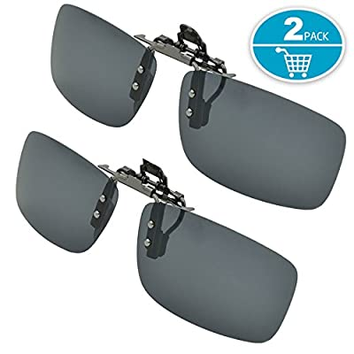 Clip-on Sunglasses, Splaks Unisex Polarized Frameless Rectangle Lens Flip Up Clip on Prescription Sunglasses Eyeglass, 2-Piece clip on glasses