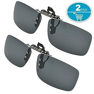 Clip-on Sunglasses, Splaks Unisex Polarized Frameless Rectangle Lens Flip Up Clip on Prescription Sunglasses Eyeglass, 2-Piece clip on glasses + Night Vision Glasses - Black
